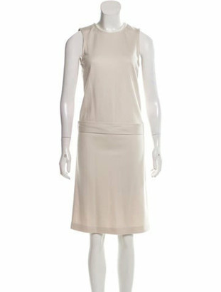 Gucci Belted Shift Dress Beige