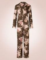 Marks and Spencer Satin Floral Print Revere Collar Pyjamas