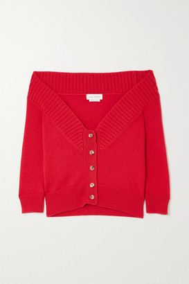 Alexander McQueen Off-the-shoulder Cashmere Cardigan - Red