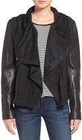Vince Camuto Genuine Leather & Suede Hooded Jacket