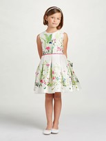 Oscar de la Renta Botanical Border Mikado Party Dress