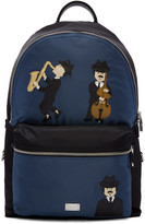 Dolce & Gabbana Black and Blue Nylon Jazz Players Backpack