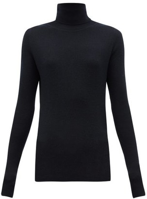 Raey Roll-neck Fine-rib Cashmere Sweater - Navy