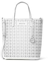 MICHAEL Michael Kors Hayley Large Top-Zip Leather Tote Bag, White