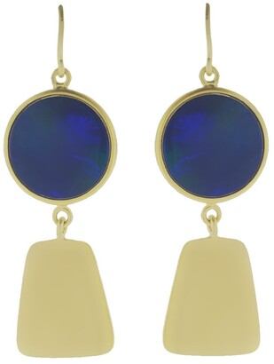 Sylva & Cie 18kt yellow gold Maya Collection opal earrings