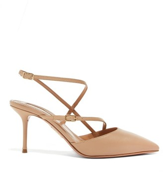 Aquazzura Carolyne 75 Asymmetric-strap Leather Pumps - Womens - Nude