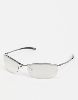 ASOS DESIGN square rimless glasses with clear lens