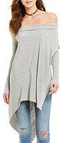 Free People Grapevine Off-the-Shoulder Long Sleeve Asymmetric Hem Tunic