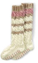 Classic Women's Hand Knit Slipper Socks-Champagne Stripe
