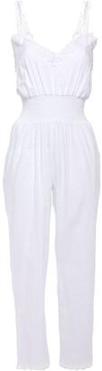 Charo Ruiz Ibiza Guipure Lace-trimmed Shirred Cotton-blend Mousseline Jumpsuit