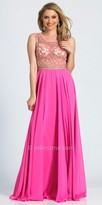 Dave and Johnny Scroll Beaded A-line Chiffon Prom Dress