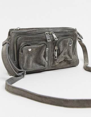 Nunoo Stine suede bag with zip pockets in grey