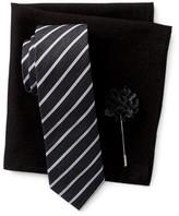 Original Penguin Thistle Stripe Tie, Pocket Square, & Lapel Stick Pin Set