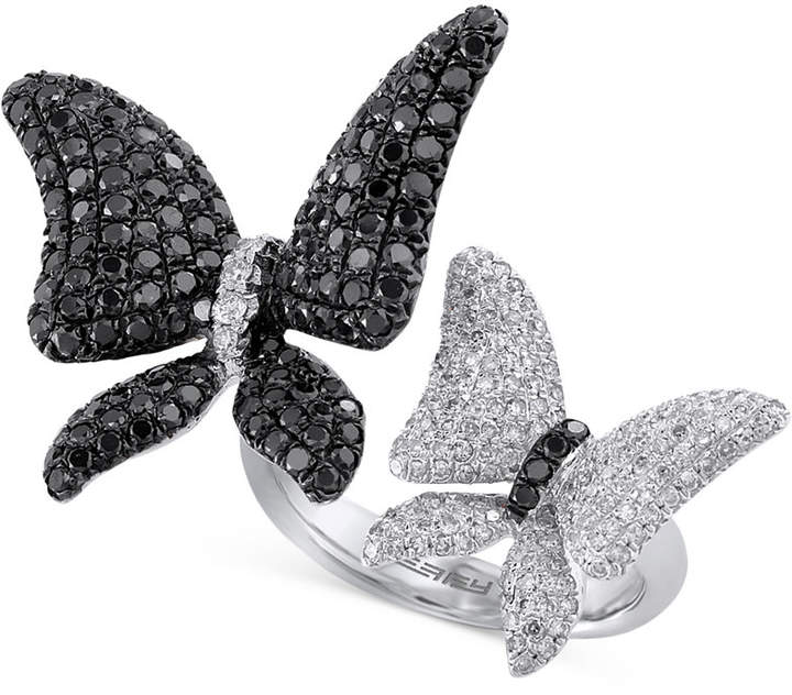 Effy Caviar Black and White Diamond (2-1/5 ct. t.w.) Butterfly Ring in 14k White Gold