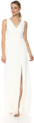 Adrianna Papell Women's V Neck Stripe Lace Gown
