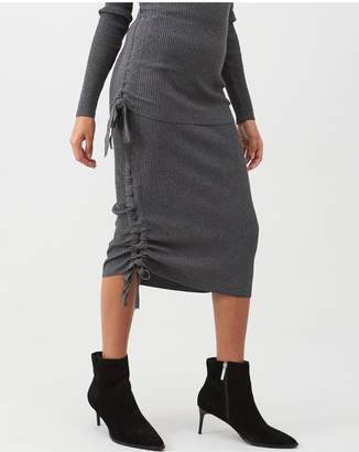 River Island Ruched Side Ribbed Midi Skirt - Grey