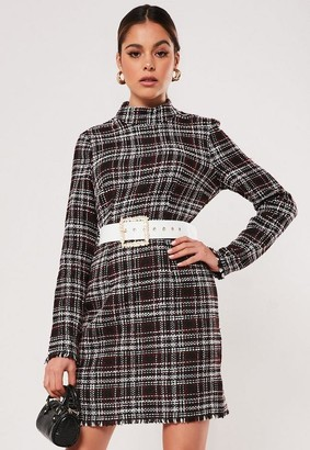 Missguided Boucle High Neck Mini Dress