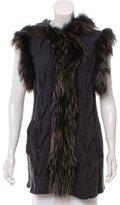 Jocelyn Fur-Trimmed Knitted Vest
