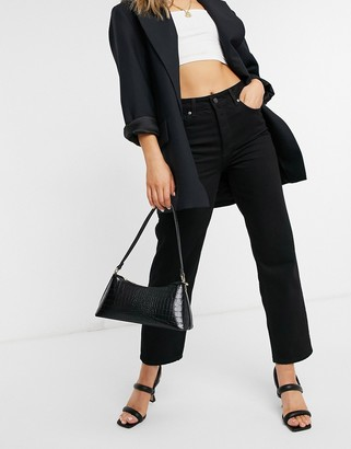 Selected kate straight leg jeans with high waist in black