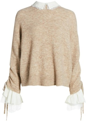 Cinq à Sept Atlas Collar Bell-Sleeve Wool-Blend Sweater