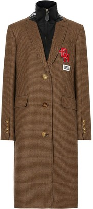 Burberry Layered Front Houndstooth Patch-Detail Coat