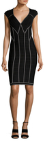 Herve Leger Trimmed V Neck Sheath Dress