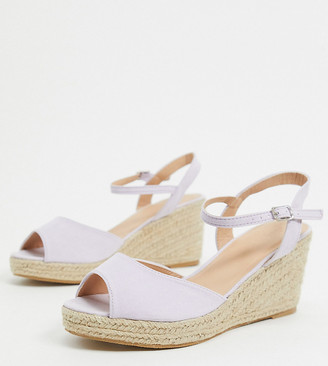 Simply Be wide fit espadrille wedge in lilac