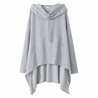 Kimodo Llc KIMODO Women's Casual Solid Color Hoodie Irregular Hem Hooded Plus Size Long Sleeve Sweatshirt Pullover Blouse Tops Coat Black