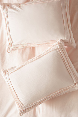 Anthropologie Joey Washed Percale Shams, Set of 2 By in White Size S2 qn sham