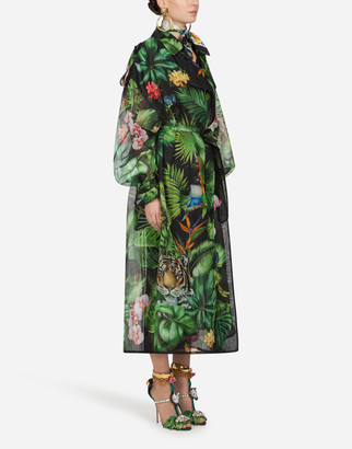 Dolce & Gabbana Organza Trench Coat With Jungle Forest Print