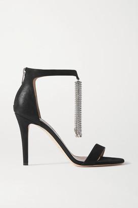 Jimmy Choo Viola 100 Crystal-embellished Suede Sandals - Black