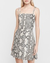 Express Snakeskin Print Ruffle Hem Fit And Flare Dress