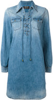 Roberto Cavalli lace-up denim shirt dress