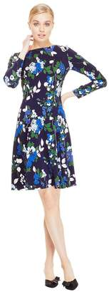 Lela Rose Floral Printed Crepe Long Sleeve Seamed Dress