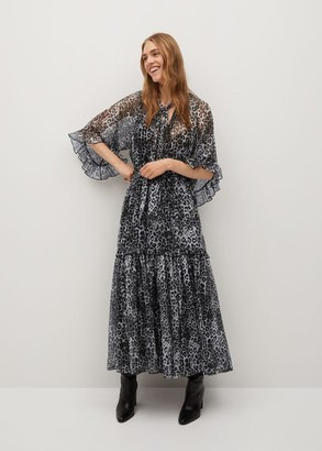MANGO Ruffled printed dress black - 4 - Women
