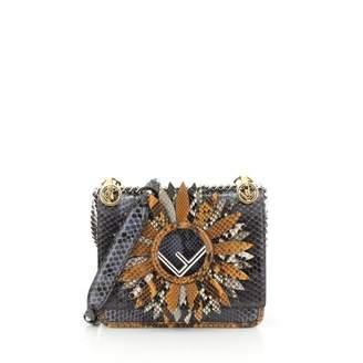 Fendi Kan I Logo Blue Python Handbags
