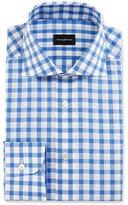 Ermenegildo Zegna Bold-Check Dress Shirt, White/Royal Blue