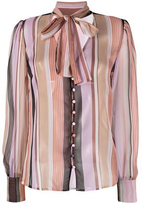 Liu Jo Striped Bow Tie Shirt