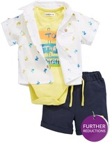 Ladybird Baby Boys 3pc Shirt, Bodysuit And Short Set