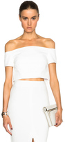 Nicholas Double Bonded Off the Shoulder Cropped Top in White.