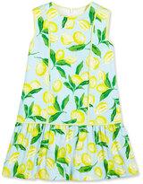 Oscar de la Renta Painted Lemons Poplin Shift Dress, Yellow, Size 4-14