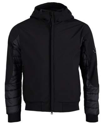 C.P. Company Soft Shell Quilt Arm Lens Hooded Jacket Colour: BLACK, Siz