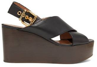 Marni Leather Slingback Wedge Sandals - Womens - Black