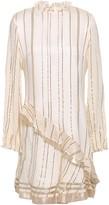Derek Lam 10 Crosby Ruffled Metallic Striped Silk-blend Mini Dress