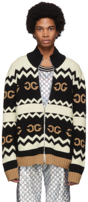 Gucci Black Wool Mirrored GG Zip-Up Sweater