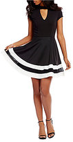 Jodi Kristopher Choker Neck Striped Hem Fit-And-Flare Dress