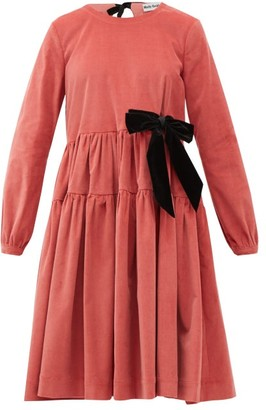 Molly Goddard Deliah Velvet-bow Cotton-blend Corduroy Dress - Womens - Pink