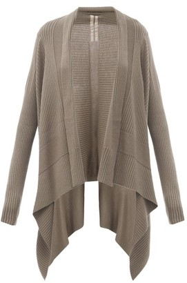 Rick Owens Draped Ribbed Wool Cardigan - Grey
