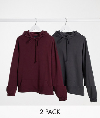 ASOS DESIGN oversized hoodie 2 pack with fixed hem in washed black/burgundy