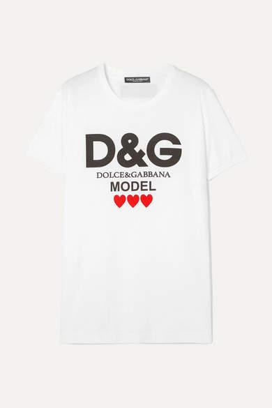 Dolce & Gabbana Printed Cotton-jersey T-shirt - White